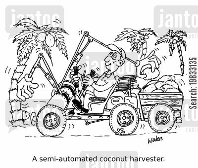 coconut cartoon humor: A semi-automated coconut harvester.