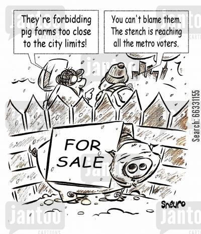 pig farmers cartoon humor: Pig farm for sale: the stench is too close to the city.