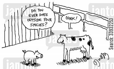 opposites attract cartoon humor: 'Do you ever date outside your species?' 'Oink!'