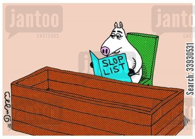 fine dining cartoon humor: Slop List.