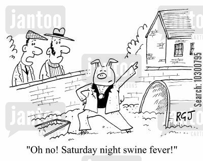 disco dancer cartoon humor: Oh no! Saturday Night Swine Fever!