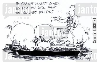 troughs cartoon humor: If you lot cannot learn to fly you will have to go into politics.