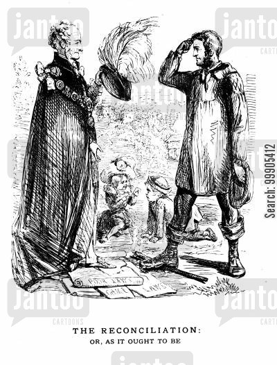 potato famine cartoon humor: Lords, Peasants and the Poor Law - 1845