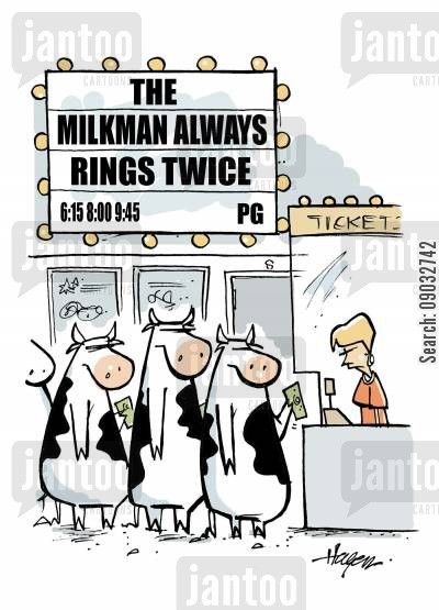 motion picture cartoon humor: The Milkman Always Rings Twice.