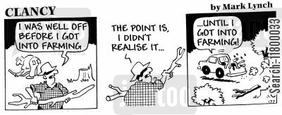 realisation cartoon humor: Clancy Strip:Late Realisations