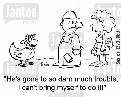 sunday lunch cartoon humor: 'He's gone to so darn much trouble, I can't bring myself to do it!'