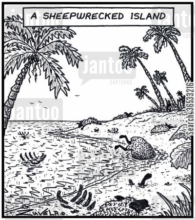 sinking ships cartoon humor: A Sheepwrecked island.