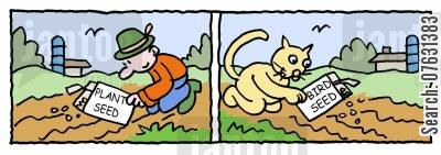 sows cartoon humor: Man sowing plant seed Cat sowing bird seed.