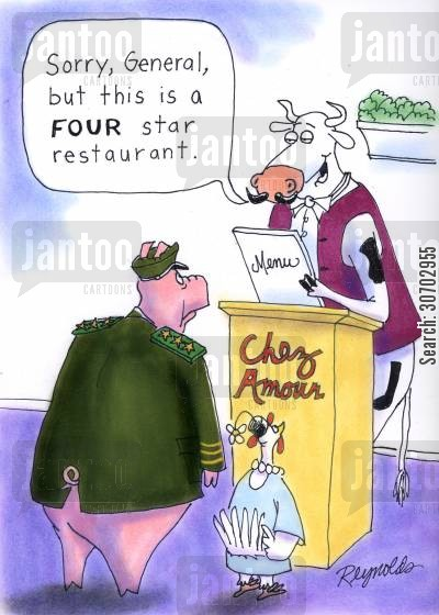 rankings cartoon humor: 'Sorry general, but this is a four star restaurant.'