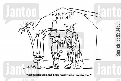 halitosis cartoon humor: 'His breath is so bad I can hardly stand to kiss him.'