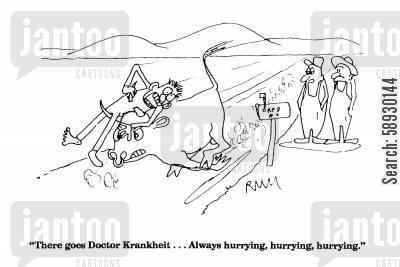 angry bull cartoon humor: 'There goes Doctor Krankheit...Always hurrying, hurrying, hurrying.'