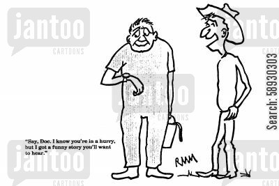 funny stories cartoon humor: 'Say, Doc. I know you're in a hurry, but...'