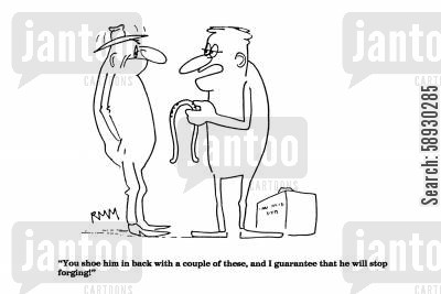 horse shoes cartoon humor: 'You shoe him in back with a couple of these...'