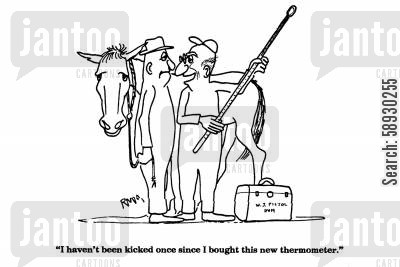 kicked cartoon humor: 'I haven't been kicked once since I bought this new thermometer.'