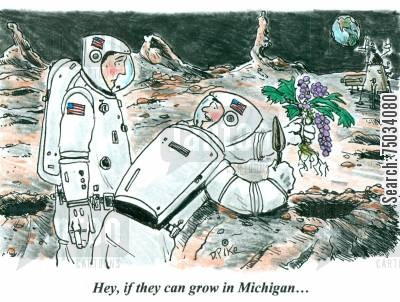 soil cartoon humor: 'Hey, if they can grow in Michigan...'