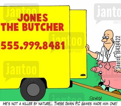 abattoir cartoon humor: 'He's not a killer by nature... These damn PC games made him one!'