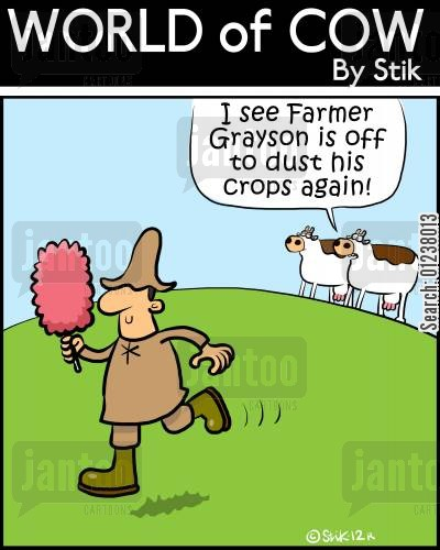 feather duster cartoon humor: 'I see Farmer Grayson is off to dust the crops again!'