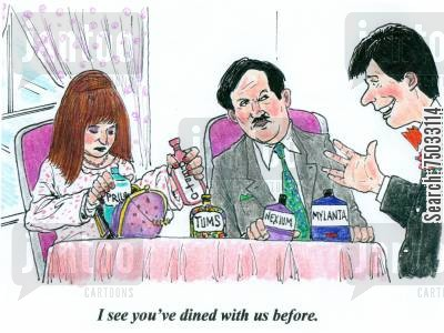 diarrhea cartoon humor: 'I see you've dined with us before.'