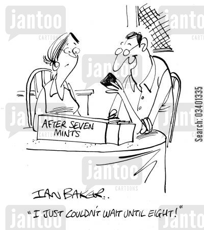 breath fresheners cartoon humor: 'I just couldn't wait until eight!'