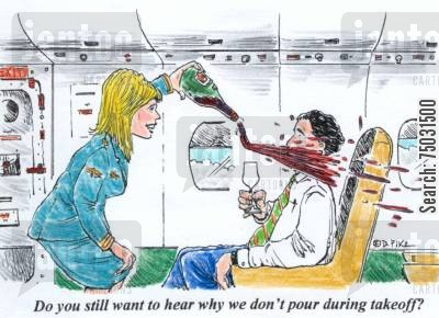 air hostesses cartoon humor: 'Do you still want to hear why we don't pour during takeoff?'