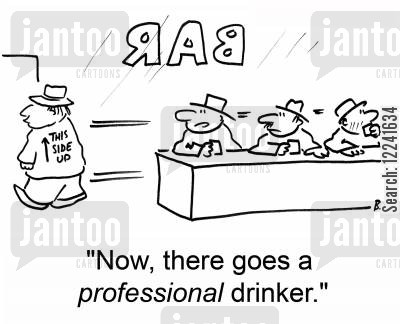 falling down drunk cartoon humor: 'Now, there goes a professional drinker.'