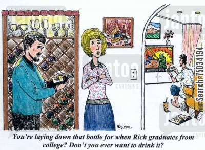 graduations cartoon humor: 'You're laying down that bottle for when Rich graduates from college? Don't you ever want to drink it?'