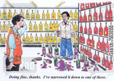 fussy cartoon humor: 'Doing fine, thanks. I've narrowed it down to one of these.'