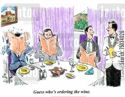 stewards cartoon humor: 'Guess who's ordering the wine.'