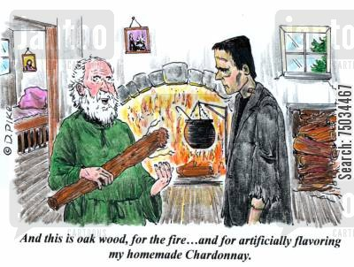 chardonnay cartoon humor: 'And this is wood, for the fire...and for artificially flavoring my homemade Chardonnary.'