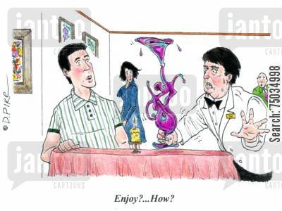 epicurean cartoon humor: 'Enjoy?...How?'
