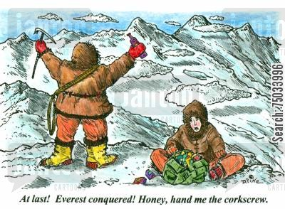 corkscrew cartoon humor: 'At last! Everest conquered! Honey, hand me the corkscrew.'