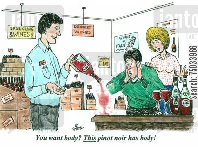 demonstrate cartoon humor: 'You want body? This pinot noir has body!'