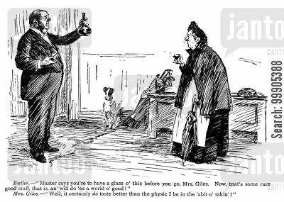 alcholic drinks cartoon humor: Butler Offers an Old Lady a Drink