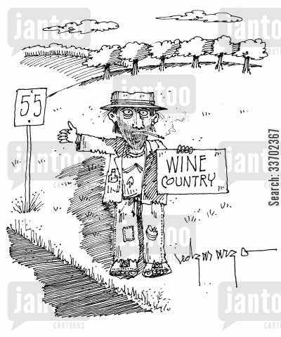 homeless men cartoon humor: Wine Country.