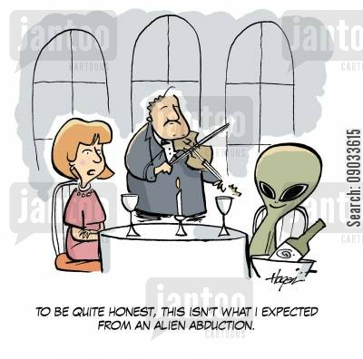 alien adduction cartoon humor: 'To be quite honest, this isn't what I expected from an alien abduction.'