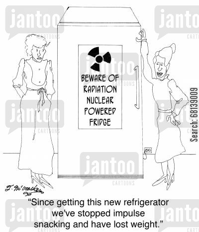 electric power cartoon humor: 'Since getting this new refrigerator we've stopped impulse snacking and have lost weight.'