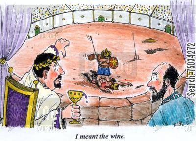 ancient rome cartoon humor: 'I meant the wine.'
