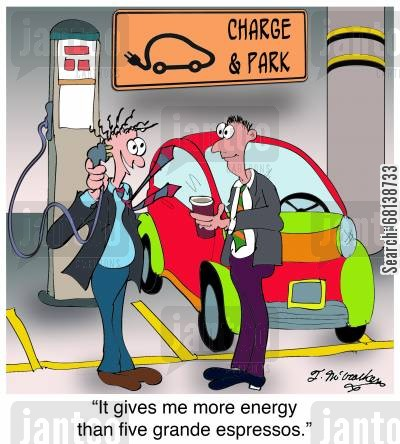 electric car cartoon humor: 'It gives me more energy than five grande espressos.'
