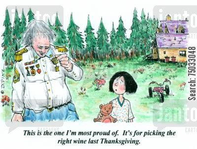 select cartoon humor: 'This is the one I'm most proud of. It's for picking the right wine last Thanksgiving.'