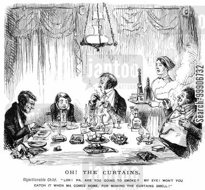 objectionable cartoon humor: A family at the dinner table