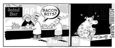 red meat cartoon humor: Pig in the back room sits quivering as the chef offers bacon bits to a customer.