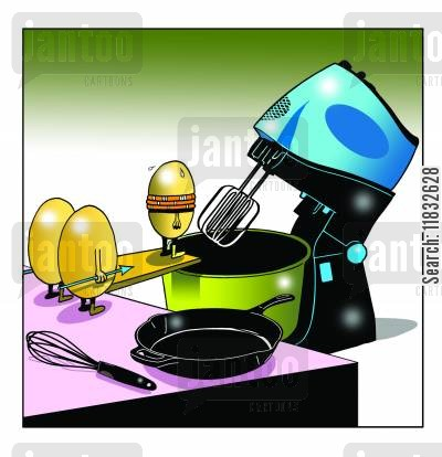 making cakes cartoon humor: The bad egg.