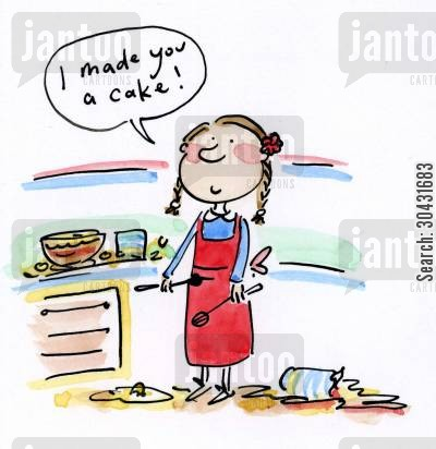 baking cakes cartoon humor: I made you a cake!