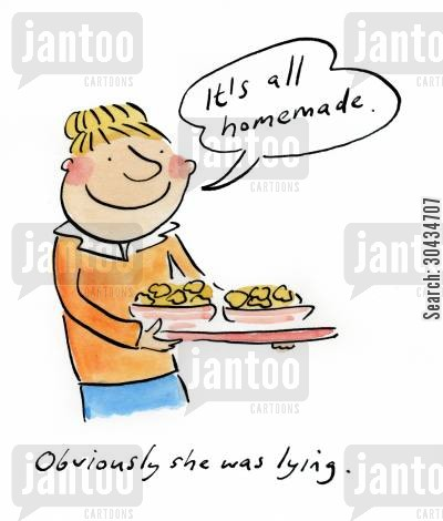 cake mix cartoon humor: 'It's all homemade.'