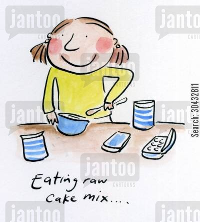 cake mix cartoon humor: Eating raw cake mix.