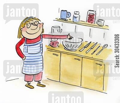 baking cakes cartoon humor: Cookery Lesson.
