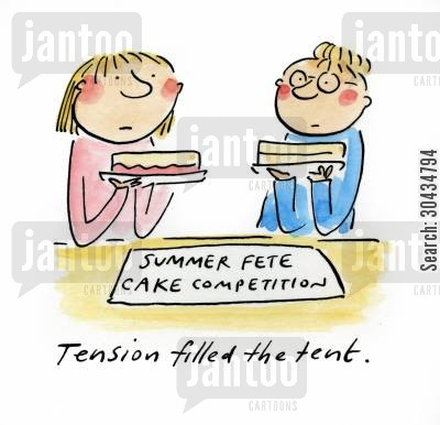 summer fetes cartoon humor: Tension filled the tent.
