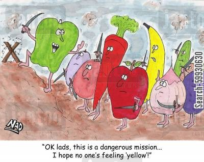 missions cartoon humor: Fruit and vegetables on the war path:'OK lads, this is a dangerous mission, I hope no one's feeling yellow'
