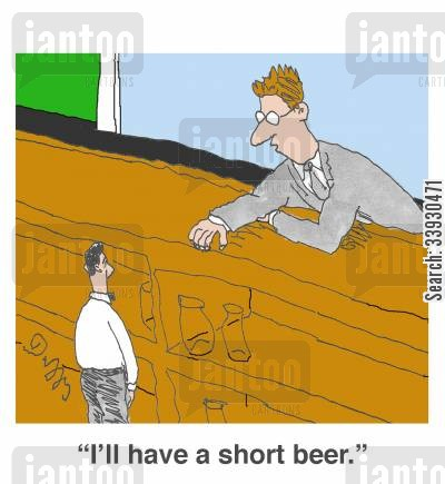 short people cartoon humor: 'I'll have a short beer.'