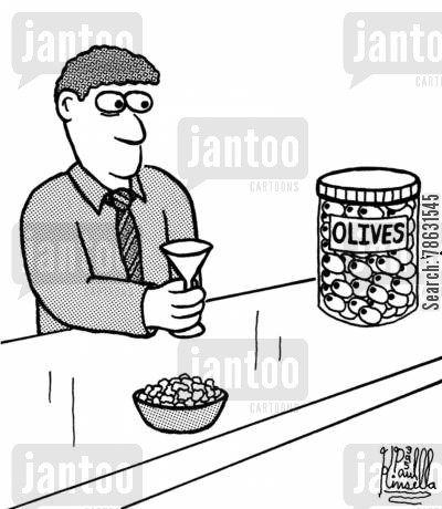 observing cartoon humor: Olives (man at bar)